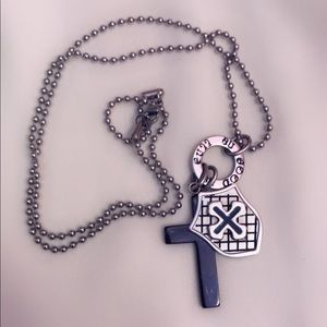 Stainless steel cross and shield necklace